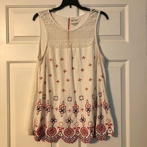 White top with red & blue design